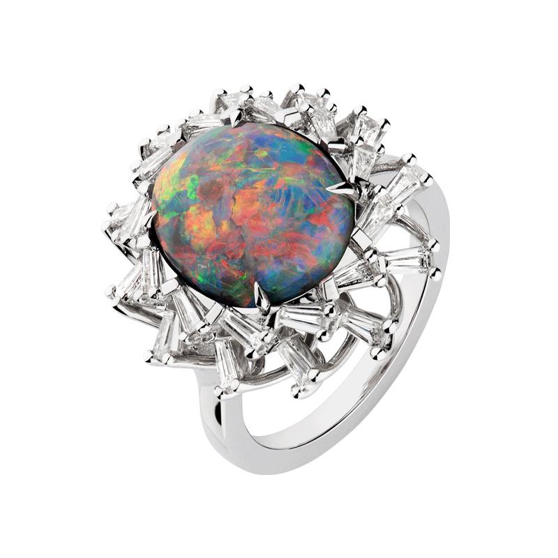 4.42ct Australian Black Opal set with Tapered Baguette Cut Diamonds