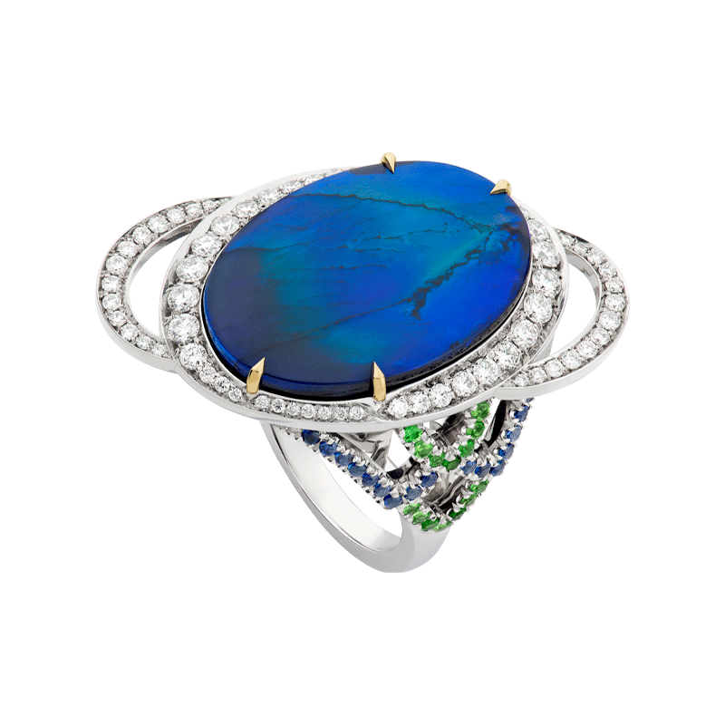 8.46ct Australian Black Opal set with Tsvaorite & Sapphire Shoulders
