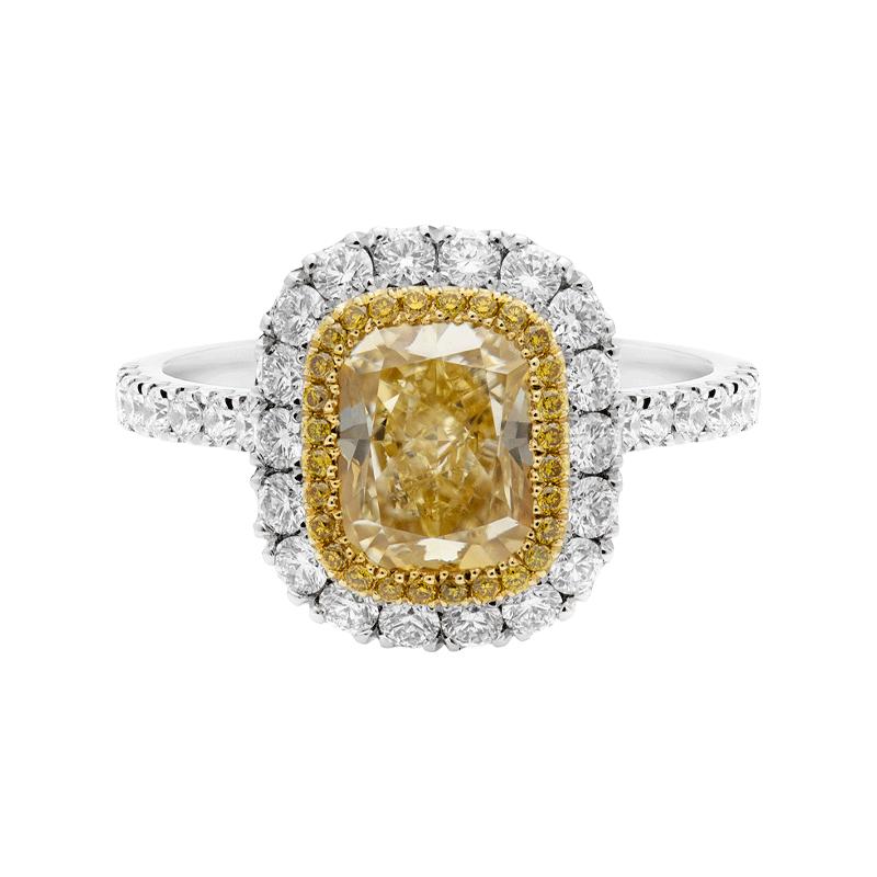 2.78ct Cushion Cut Fancy Yellow Diamond