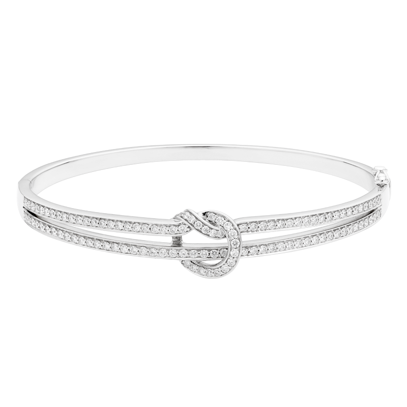 Two Row Knot Style Diamond Bangle