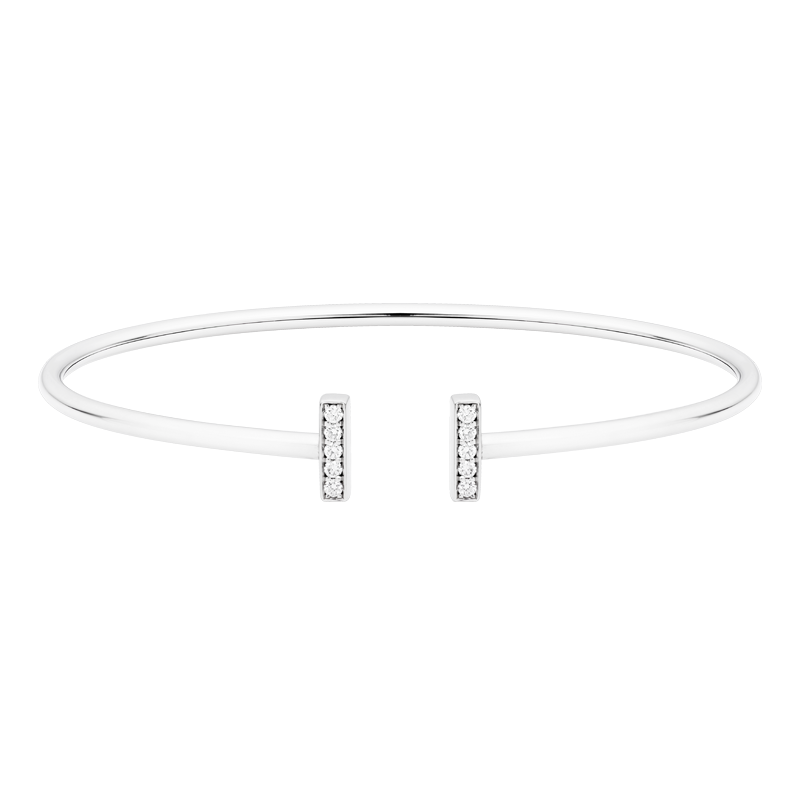 Delicate T-Bar Style Diamond Bangle