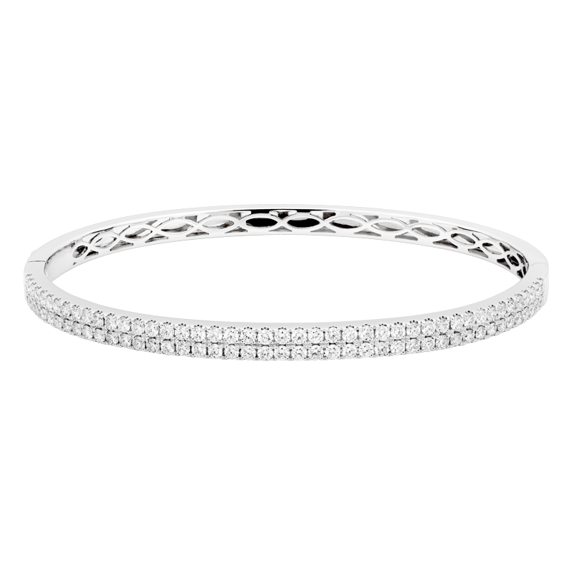Classic Double Row Diamond Bangle