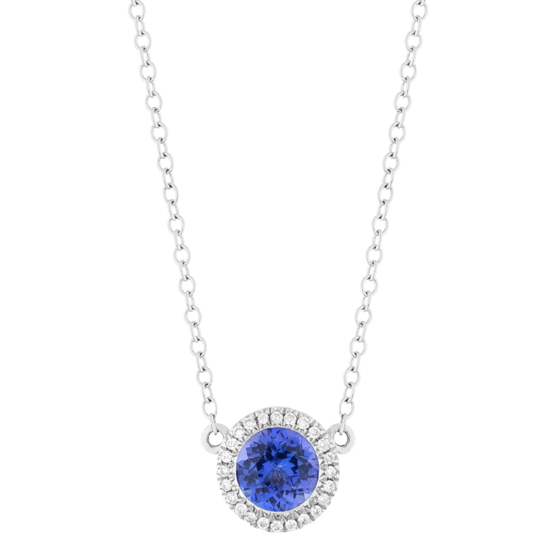 Round Brilliant Cut Tanzanite Halo Pendant