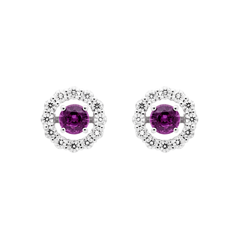 A Pair of Sapphire Ear Studs, Removable Diamond Surround