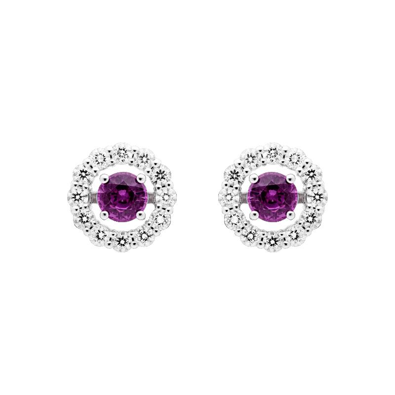 Sapphire Ear Studs, Removable Diamond Surround