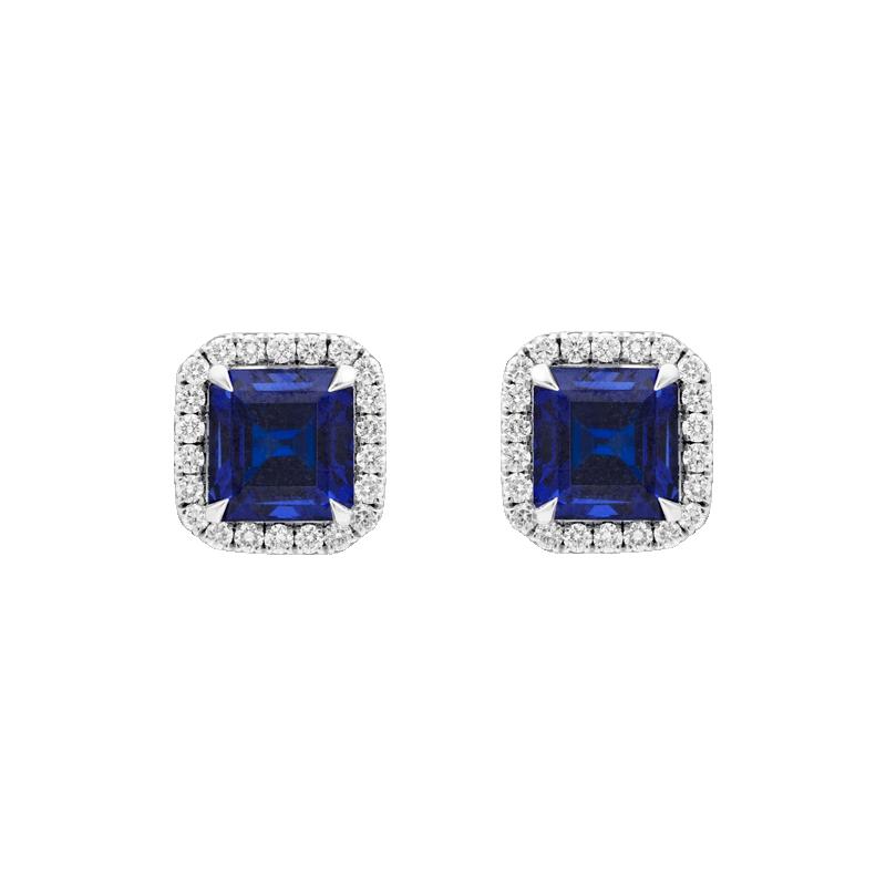 Asscher Cut Sapphire Earrings