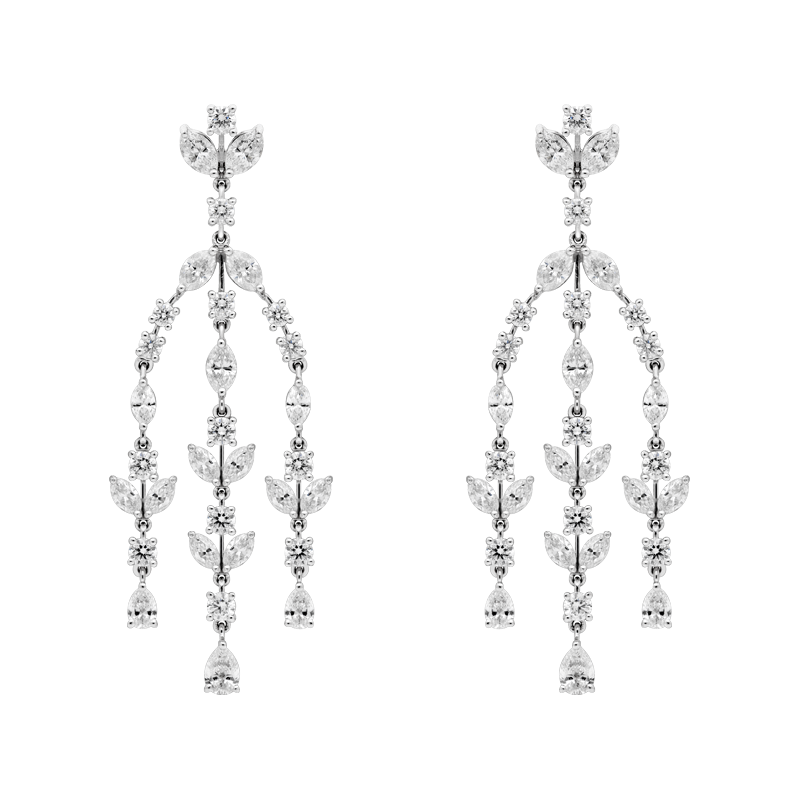 Mixed Cut Fancy Chandelier Drop Earrings