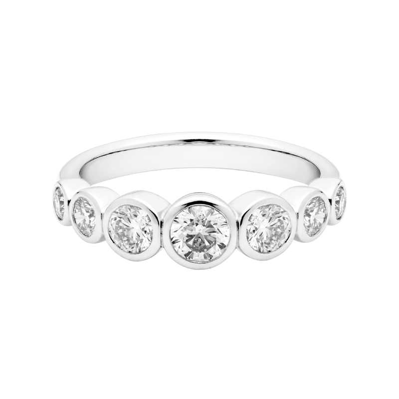 A Seven Stone Round Brilliant Cut Dress Ring