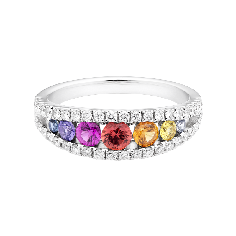 Graduated Sapphire and Diamond Round Brilliant Dress Ring