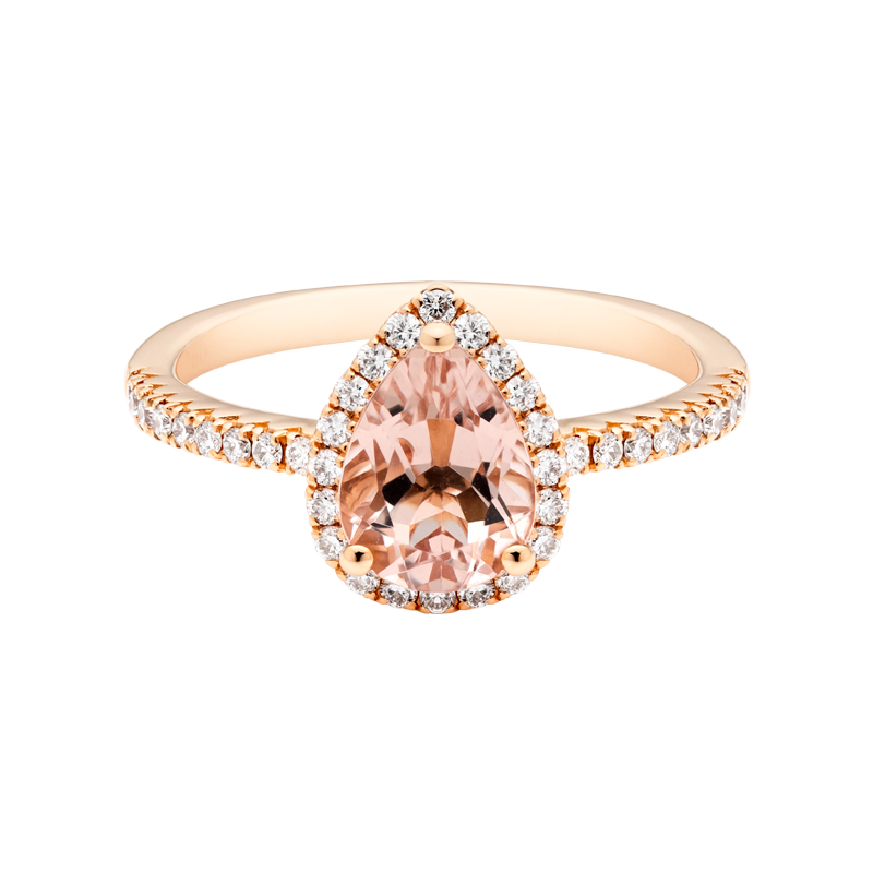 A Pear Cut Morganite Dress Ring
