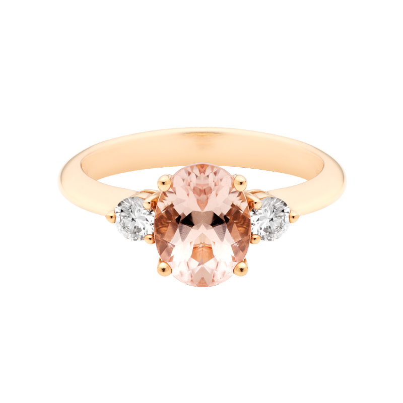 An Oval Cut Morganite Trilogy Dress Ring