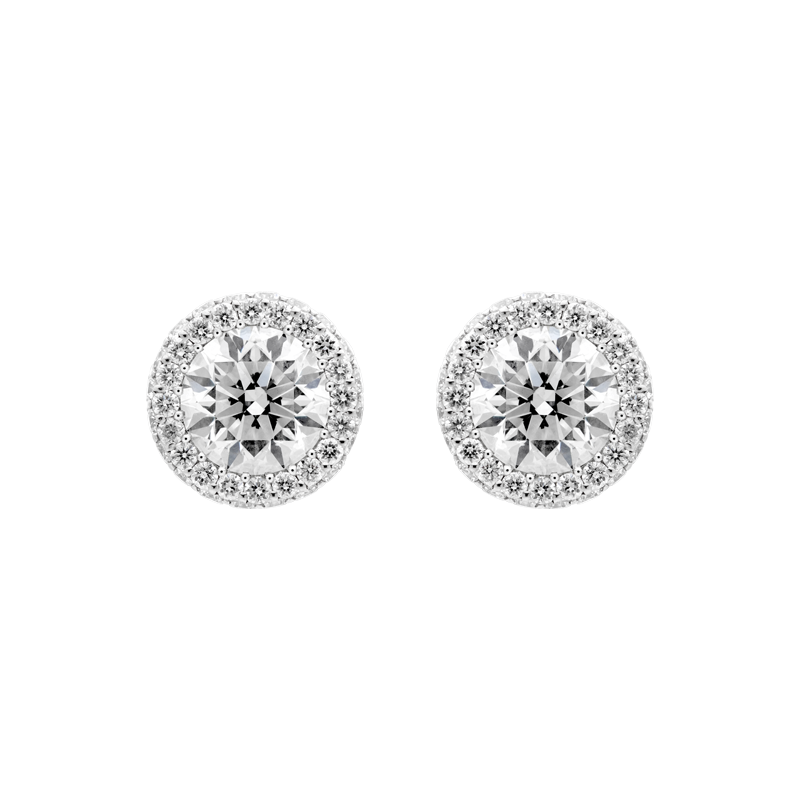 A Pair of 1.80ct Round Brilliant French Style Ear Studs
