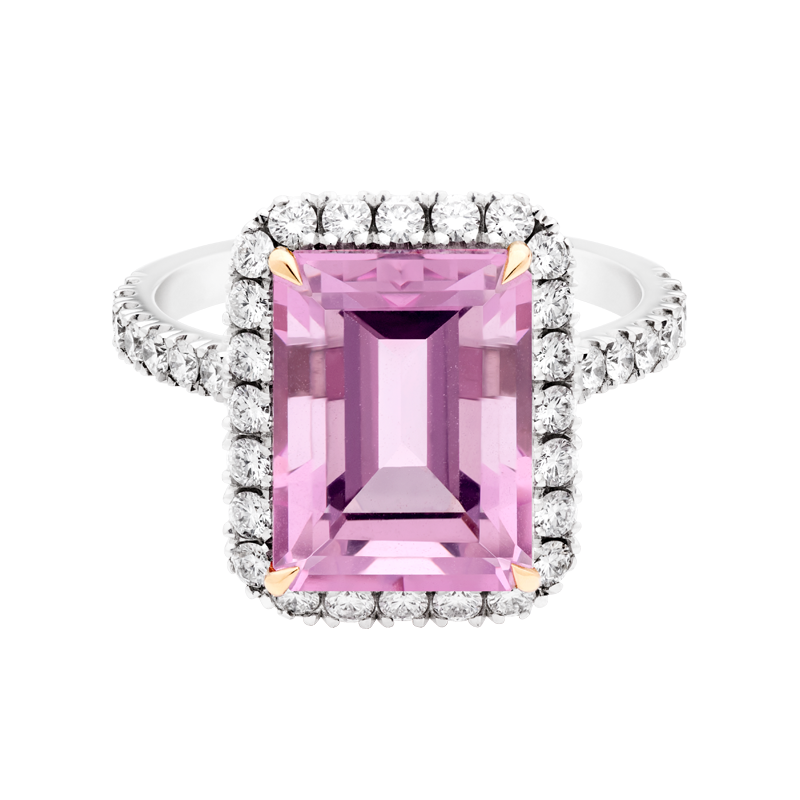An Emerald Cut Morganite Dress Ring