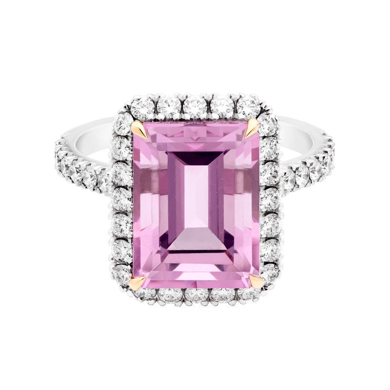Emerald Cut Morganite Dress Ring