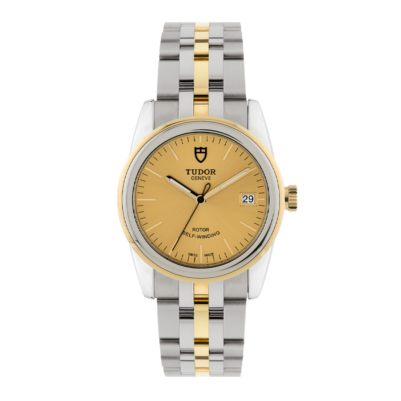 TUDOR, Glamour Date 36, Stainless Steel and 18ct Yellow Gold