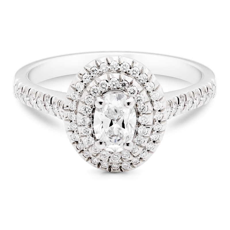 Oval Cut Diamond, Double Halo & Diamond Shoulders, Platinum