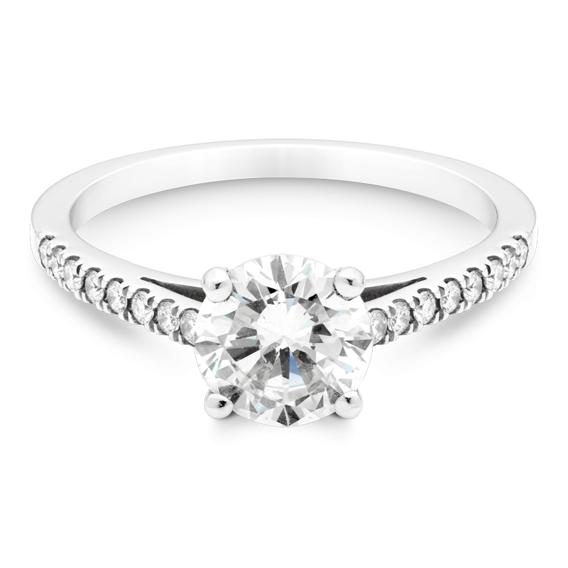 1.18ct Round Brilliant Cut, Set With Diamond Shoulders, Platinum
