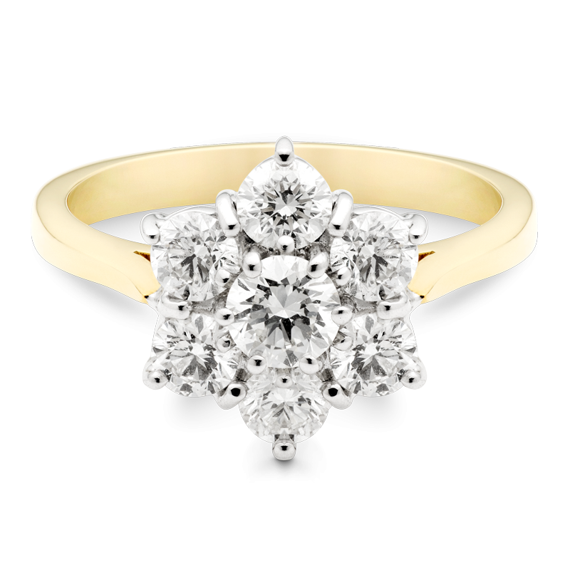 Round Brilliant Cut Floral Cluster Ring, 18ct Yellow Gold