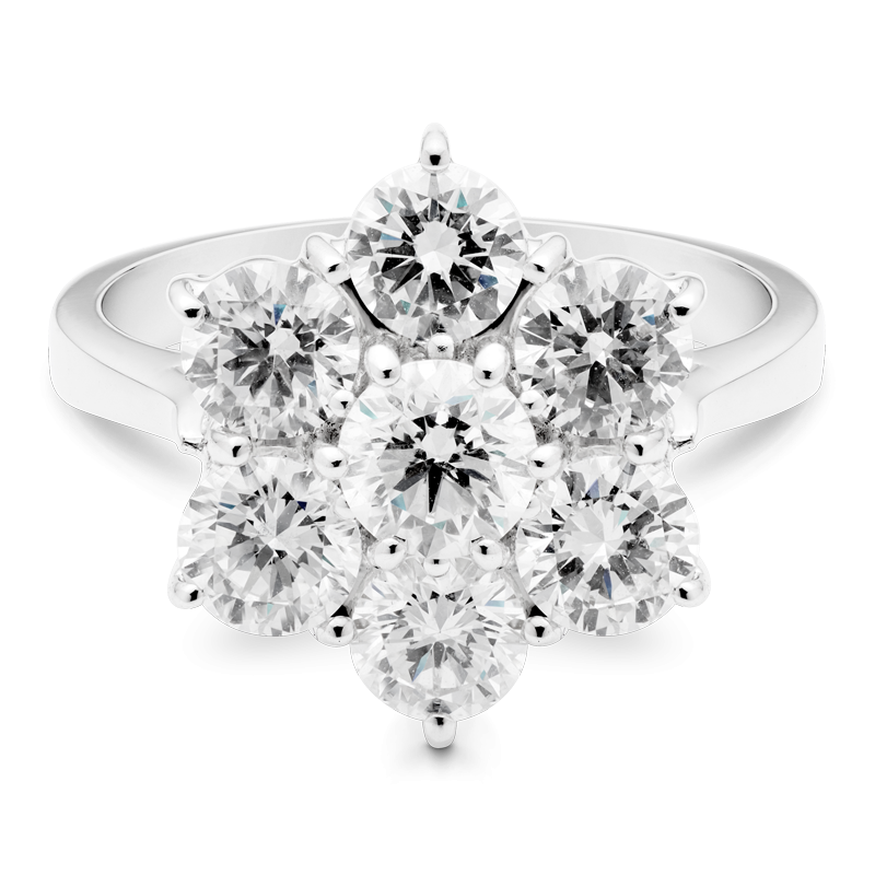 3.12ct Round Brilliant Cut Floral Cluster Ring, 18ct White Gold