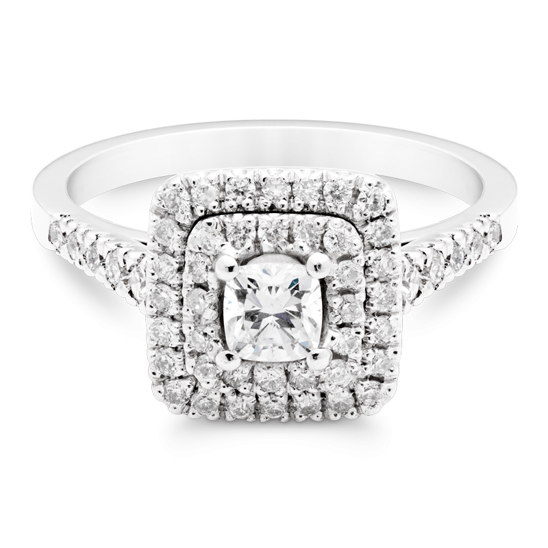 Cushion Cut Diamond, Set With Double Halo & Diamond Shoulders, Platinum