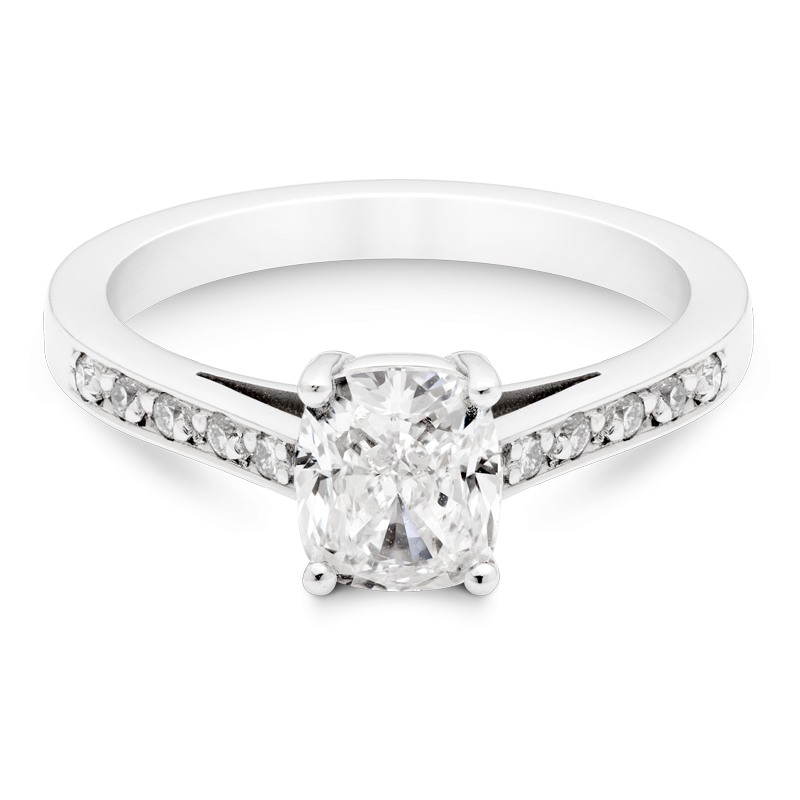 Cushion Cut Diamond Ring, Set With Diamond Shoulders, Platinum