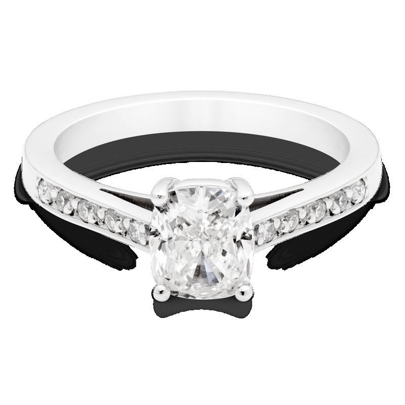 Cushion Cut Diamond Ring, Set With Diamond Shoulders, Platinum