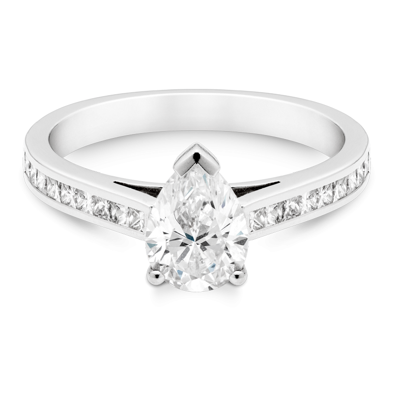 1ct Pear Cut Diamond, Set With Diamond Shoulders, Platinum