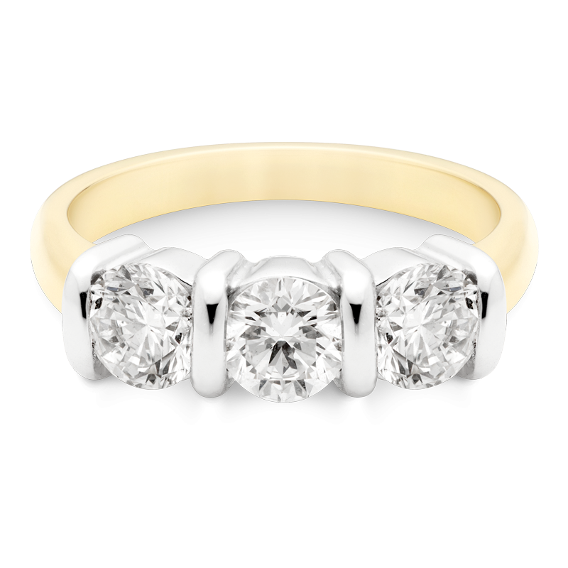 1.50ct Round Brilliant Cut Trilogy, 18ct Yellow Gold