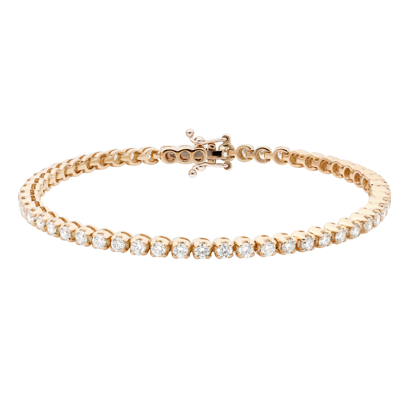 18ct Rose Gold Diamond Tennis Bracelet, 4.06ct