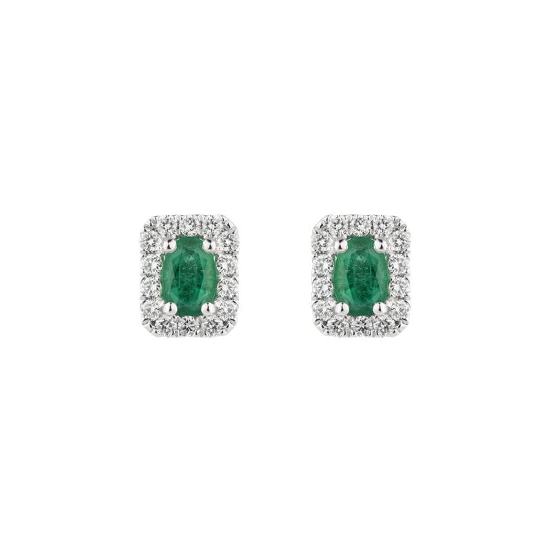 Oval Cut Emerald Halo Ear Studs