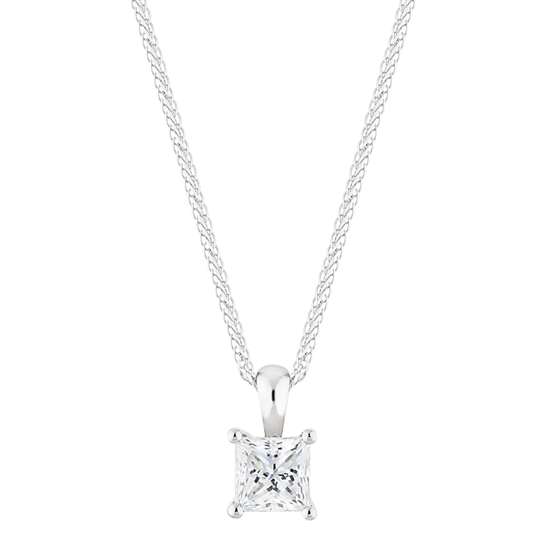 Princess Cut Solitaire Pendant, 0.81ct