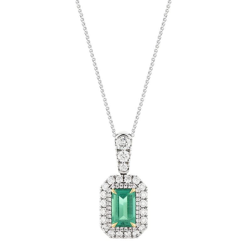 Emerald Double Halo Pendant