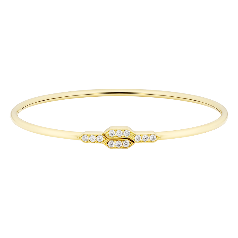 Deco Style Diamond Bangle, 18ct Yellow Gold