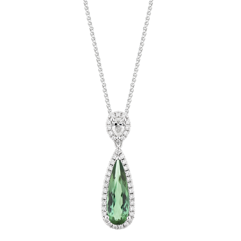 Pear Cut Green Tourmaline Pendant
