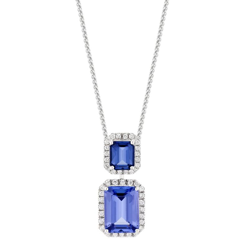 Sapphire & Tanzanite Drop Halo Pendant