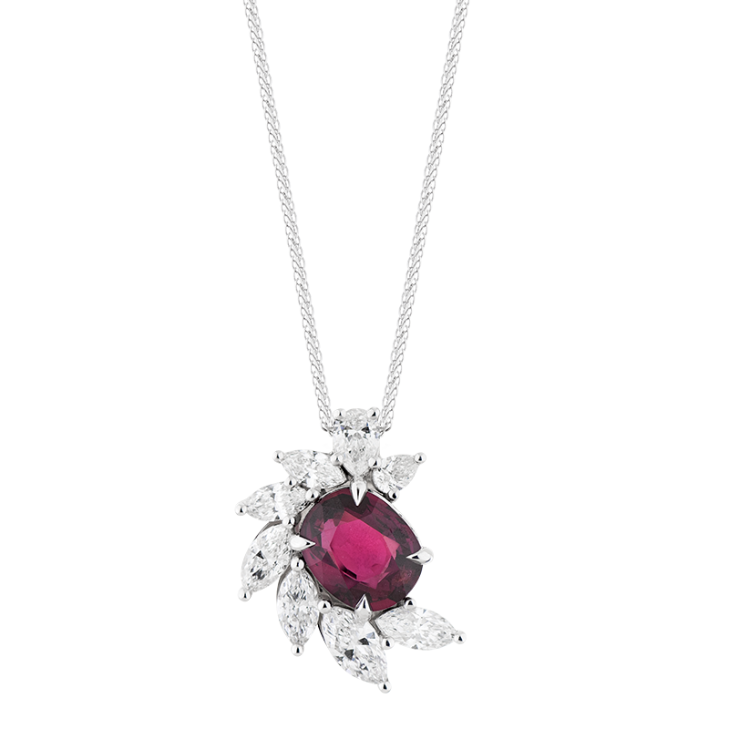 Oval Cut Ruby Cluster Pendant