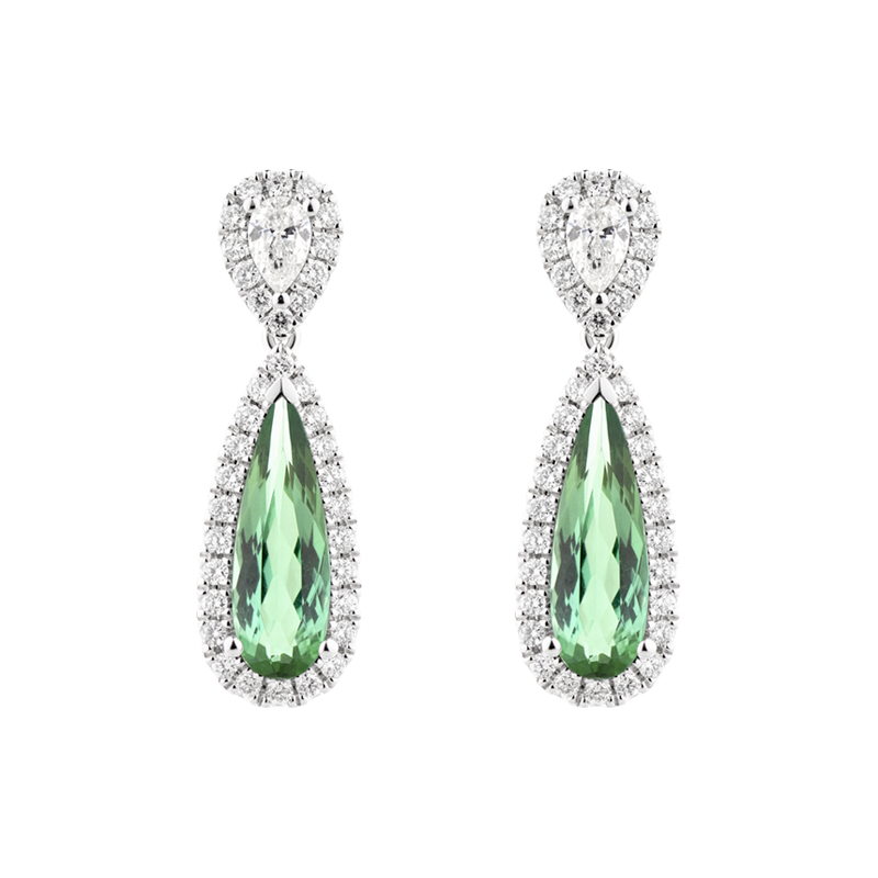 Pear Cut Green Tourmaline Drop Earrings