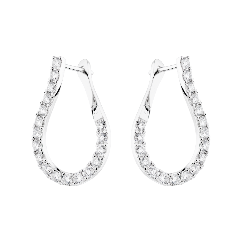 Pear Shaped Diamond Hoops