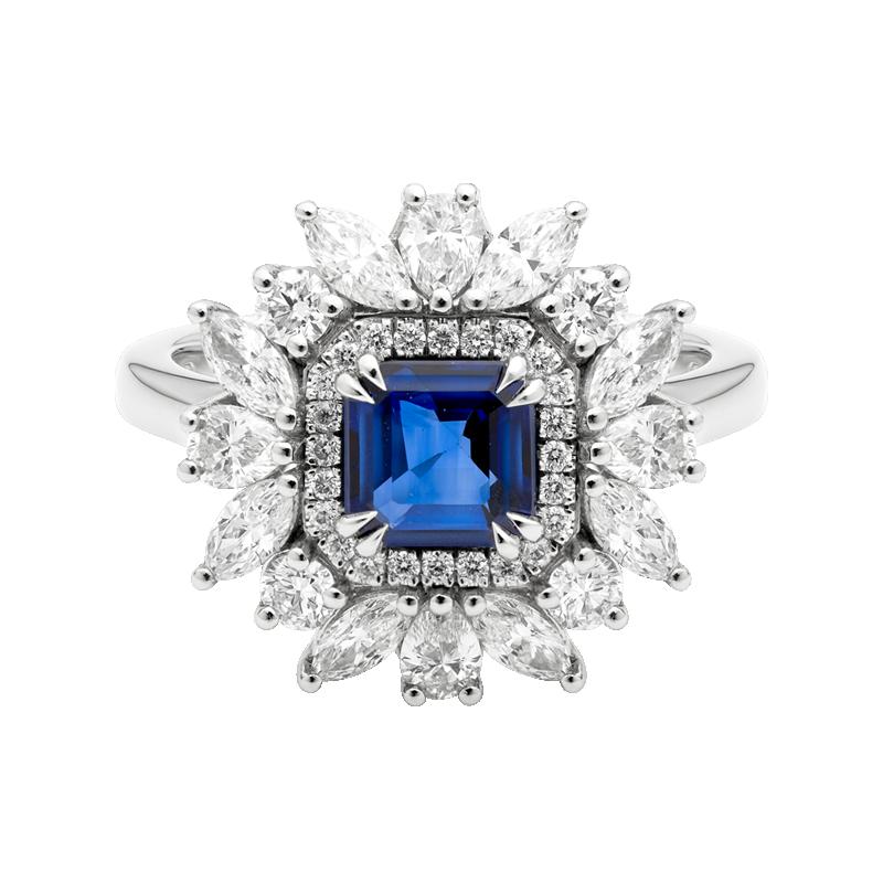 Octagon Cut Sapphire Dress Ring