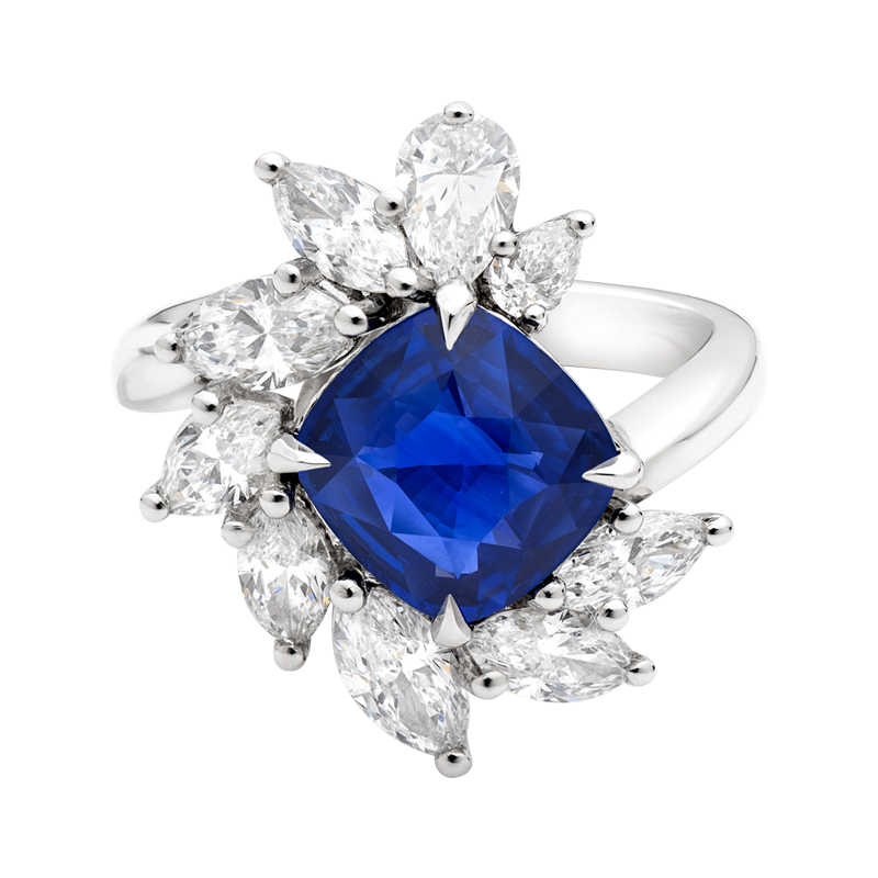 Cushion Cut Sapphire Cluster Dress Ring