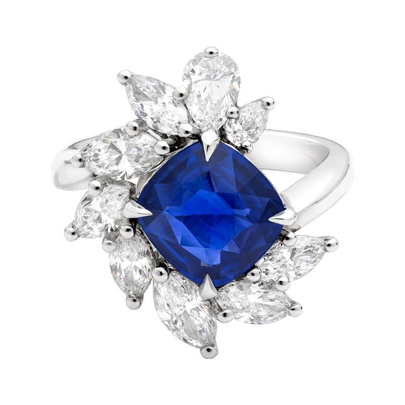 Cushion Cut Sapphire Cluster Dress Ring