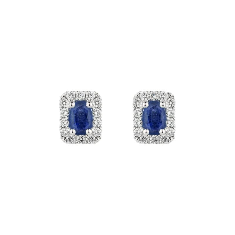 Oval Cut Sapphire Halo Ear Studs