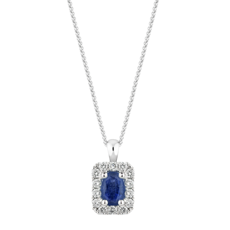 Oval Cut Sapphire Halo Pendant