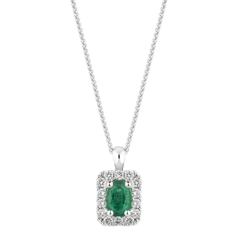 Oval Cut Emerald Halo Pendant