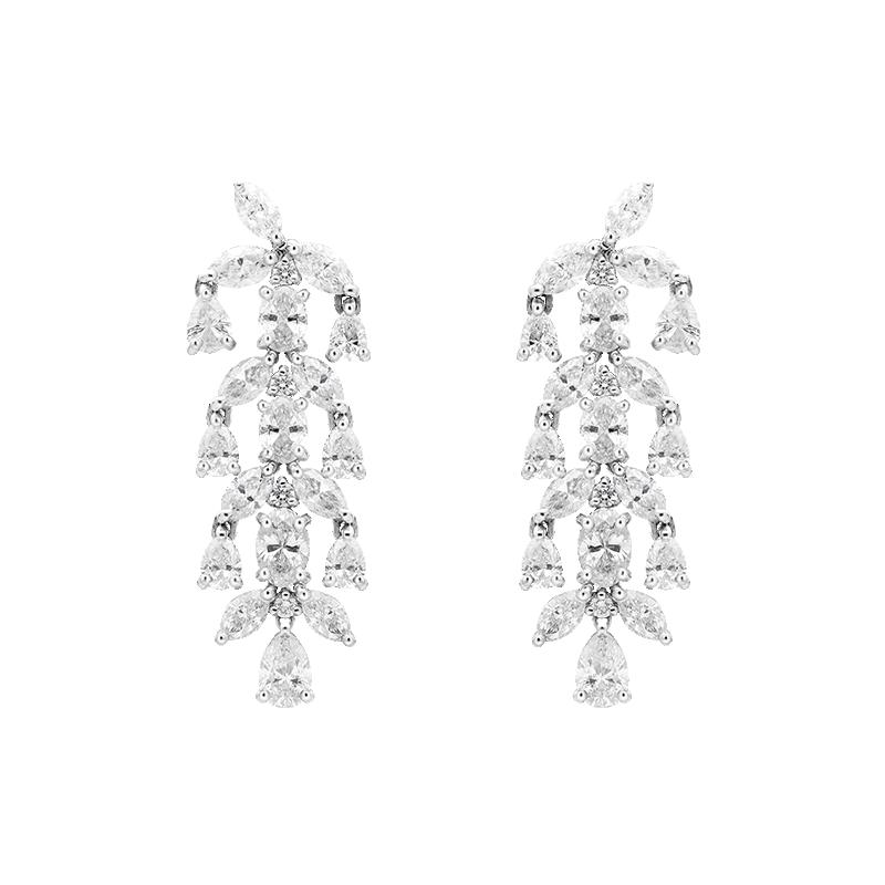 Mixed Cut Fancy Chandelier Earrings