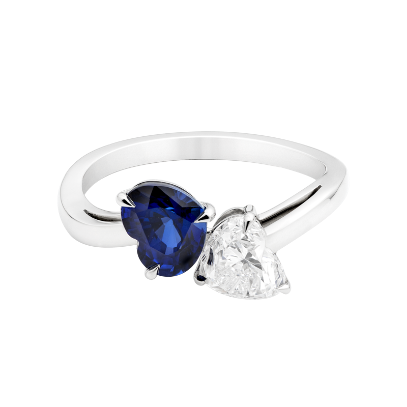 Two Hearts Sapphire and Diamond Dress Ring